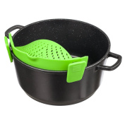 SmartSharky - Silicone Clip-On Strainer for Pasta, Vegetables, Fruits, etc; Fits Almost All Pans and Pots Sizes; Reduce Kitchen Storage Space