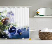 Blue White Holiday Christmas Ornaments Fabric Shower Curtain Digital Bathroom