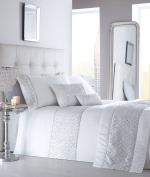 LUXURY SEQUIN DIAMANTE QUILTED BED RUNNER THROW 50cm X 220cm SHIMMER WHITE NEW