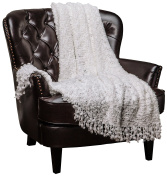 Chanasya Super Soft Beautiful Elegant Decorative Woven Popcorn Texture Couch Bed Throw Blanket With Ball Fringe