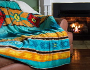 Cosy Fleece Oversized Southwestern Throw with Reverse Sherpa, 150cm x 200cm , Cool