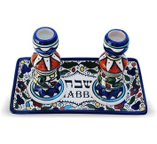 Colourful Ceramic Candlesticks with Matching Plate for Shabbat and Holidays Jerusalem Pottery