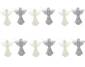 Christmas Holiday Shimmering Shiny Glitter Angel Ornaments with Gemstones, Silver, White, Medium, Pack of 6, 15cm x 7.6cm x 2.5cm