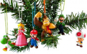 Super Mario Brothers Christmas Ornaments Figurines, Pack of 6