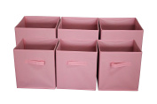Sodynee Foldable Cloth Storage Cube Basket Bins Organiser Containers Drawers, 6 Pack, Pink