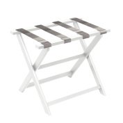 Gate House Furniture White Eco-Poly Folding Luggage Rack with Brown Multi-Striped Straps