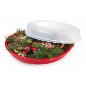 Christmas Red/Clear 60cm Wreath Container Storage Case Holiday Organiser