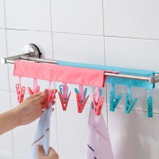 Cindy & Will 2Pcs(Watermelon Red + Blue) Portable Travel Laundry Drying Clothespins Clips for Drip-dry and Airing-out, Turn the Hanger into a Clothesline