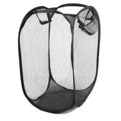 Adorox Pop Up Easy Open Mesh Laundry Clothes Hamper Basket Lightweight Compact (Black