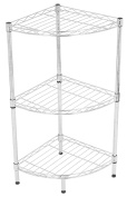 Internet's Best 3-Tier Corner Wire Shelving | Chrome | Heavy Duty Shelf | Adjustable Rack Unit