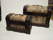 Antique Looking Old World Map Wooden Trunk / Box Set of 2