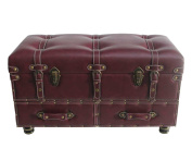 River of Goods 13246 Wide Faux Leather Trunk-Burgundy 80cm