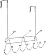Over the Door Hook Rack Organiser- 9 Hooks - Ideal for Coats, Hats, Robes, Towels - Chrome - by Utopia Home