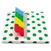 REDI-TAG CORPORATION 75011 Green Dot Designer Pop-Up Page Flag Dispenser, 4 Pads of 35 Flags Each