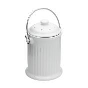 Fox Run 74941 Compost Bin, White Ceramic Compost Bin with Filter