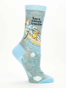 "Blue Q Women's Novelty Crew Socks ""Here Comes Trouble"""