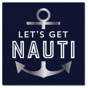 Foil Anchor Lets Get Nauti Cocktail Beverage Napkins 20ct F155518 Slant
