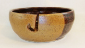 Aunt Chris' Pottery - Yarn Bowl - Tan And Brown Glazed - Hand Made Clay - With Hole Shaped Like Hook To Guide The Yarn Through - Great Gift For Someone Who Knits Or Sews