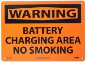 "NMC W468RB OSHA Sign, Legend ""WARNING - BATTERY CHARGING AREA NO SMOKING"", 36cm Length x 25cm Height, Rigid Plastic, Black on Orange"