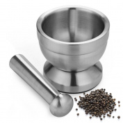 Apothecary's Grinder | Indestructible Non Toxic 304 Stainless Steel Mortar and Pestle for Crushing Grinding Ergonomic Design with Anti Slip Base and Comfy Grip Dishwasher Safe Series Sleek Silver