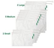 Earthwise Premium Washable Reusable Mesh Produce Grocery Bags Set of 9 - 3 Different Sizes 30cm x 43cm , 30cm x 36cm , 30cm x 20cm