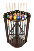 Pool Cue Rack Only- Billiard Stick Stand Holds 8 Cues & Ball Set Choose Oak or Mahogany Finish