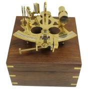 15cm Brass Astrolabe Sextant w/ Decorative Wooden Box