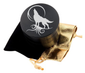 Wolf Tattoo Laser Etched Design 4pcs Large Size Herb Grinder With FREE Scraper & Velvet Pouch Item # ETCH-G012317-276