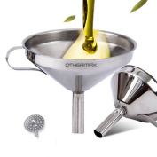 OTHERMAX Stainless Steel Funnel with Detachable Strainer/Filter For Cooking, Essential Oils and Flask-Filling,13cm , Silver