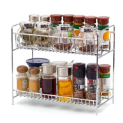 2-Tier Spice Rack, EZOWare Kitchen Countertop 2-Tier Storage Organiser Spice Jars Shelf Holder Rack - Chrome
