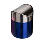 Rely2016 Stainless Steel Mini Trash Can 1.5L Dust Bin Swing Lid Kitchen Car Worktop Waste Can Silver/Red/Pink/Blue