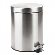 InterDesign 5 Litre Steel Step Can with Bucket Insert for Bathroom, Kitchen, Office - Brushed