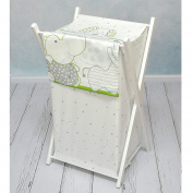 BABY LAUNDRY BASKET NURSERY HAMPER BAG STORAGE BIN WITH REMOVABLE LINEN 70 LITRE WHITE FRAME