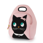 Dabbawalla Bags (Kitchen) Miss Kitty Insulated Washable Lunch Bag, 30cm H x 28cm W x 15cm D, Pink/Black