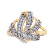 0.35 Carat Round Diamond Crisscross Bypass Ring 10K Two Tone Gold