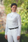 LADIES LONG SLEEVE STOCK SHIRT Stretch Breathable Cotton Bib Removable Collar