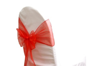 Organza Chair Sashes - Red - Packet of 5