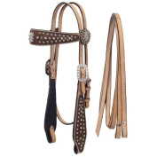 Silver Royal High Noon Spur Rowel Headstall and Reins Set w/ Inlay