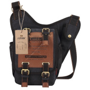 S-ZONE Mens Vintage Canvas PU Leather Military Utility Shoulder Messenger Bags