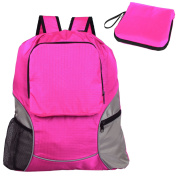 Teamoy Foldable Sackpack Drawstring Backpack Gym Bag with Straps, Pockets, Reflective Tapes