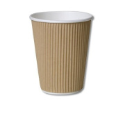 25 X 12oz / 360ml Kraft triple walled disposable paper ripple cups