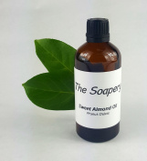 Sweet Almond Oil - 100ml Cosmetic Grade for Massage, Aromatherapy, Soaps, Lotions. Pure Carrier Oil suitable for Scalp, Face, Skin, Eyes and Hair Treatments. by TheSoapery
