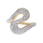 0.75 Carat Round Cut Diamond S Shaped Ring 14k Yellow Gold