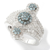 Sterling Silver 1.19ct Swiss Blue Topaz and White Diamond Fashion Ring.