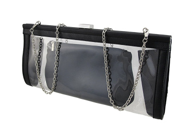 Transparent Clutch Purse with Black Trim and Cosmetic Bag
