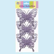 Easter Arts & Craft Bonnet Decorations Egg Hunt - 3 PURPLE Glitter Butterflies