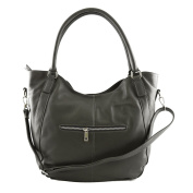 Made In Italy Genuine Leather Woman Bag Colour Dark Grey Tuscan Leather - Woman Bag