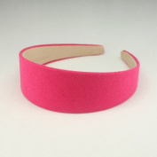 """Annielov 40mm (1 1/2"""") Plastic headband covered with cotton linen fabric Wide Headbands Hair accessories headband Alice band #2289 Hot pink"""