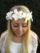 Peach Ivory White Orchid Flower Headband Hair Hawaiian Garland Headpiece 1739 *EXCLUSIVELY SOLD BY STARCROSSED BEAUTY*