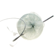 Milan Sinamay Fascinator with Feathers on Band in Silver